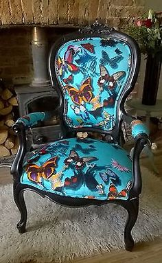 Upcycled Chair in blue Christian Lacroix Butterfly Print