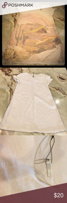 Zara Girls Soft Collection  Dress Size 11/12 Textured  Girls Dress by Zara, size: 11/12, Short Sleeve, Color Beige multi color, Fabric: polyester / viscose,  New without tag Zara Dresses Formal
