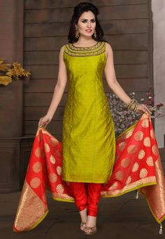 Buy Green Chanderi Readymade Churidar Suit 175712 online at lowest price from huge collection of salwar kameez at Indianclothstore.com. Salwar Neck Designs, Half Saree Designs, Churidar Designs, Fancy Blouse Designs, Kurta Designs Women, Dress Neck Designs, Indian Long Dress, Dress Indian Style, Designer Party Wear Dresses