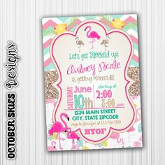 Flocked Up Bachelorette Party Invitation, Flamingos, Custom, Digital File by OctoberSkiesDesigns on Etsy