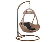 Basket Hanging Chair, Brown Rattan with Black Padded Cushion, Indoor and Outdoor Use by FADS Homestyle