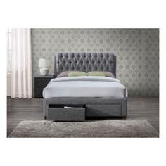 Tesco direct: Valentino 135cm 4'6 double 2 drawer grey fabric bed frame
