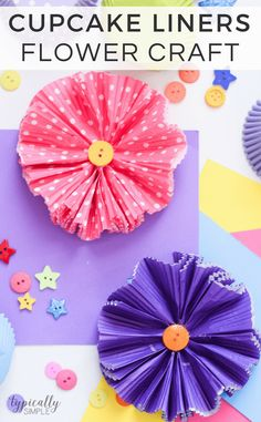 Cupcake Liners Flower Craft: A Fun And Easy Idea Kenarry for Cupcake Paper Crafts - Paper Flowers 🌸 Cupcake Liner Flowers, Flower Cupcakes, Cupcake Liners, Cupcake Holders, Cupcake Wrappers, Spring Crafts For Kids, Crafts For Kids To Make, Kids Crafts, Kids Diy