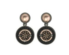 925/000% Sterling Silver Earring Pink 18k. Gold Blacks Spinels and Brown CZ. Price : $753.02 #earrings #bohemmejewelry