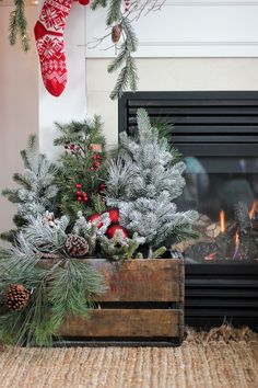 Decked out for Christmas with natural greenss and snow - Craftberry Bush | 2015 Christmas Home Tour – Part II | www.craftberrybus...