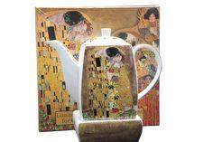 """Gustav Klimt Tee Kaffeekanne """"Der Kuss"""" Porzellan mit Geschenkbox Gustav Klimt, Bookends, Collection, Decor, Atelier, China China, Kiss, Decorating, Inredning"""