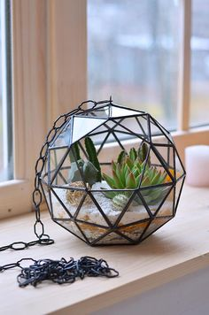 Hanging terrarium ball Stained glass terrarium Geometric glass