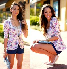 Pop Couture Floral Blazer, Boutique 9 Pink Patent Heels, Pacsun Navy Shorts, Asos Blue Clutch, Oia Jules Amethyst Necklace