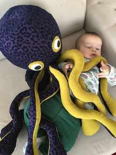 Stuffed toy plush octopus soft toy kids stuff toddler by Pillowio