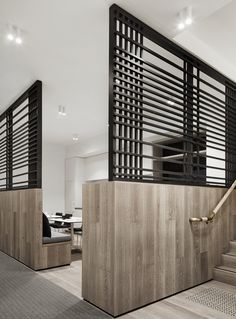Little Group, Mim Design. The kitchen and breakout area is separated from the general office area by timber clad walls that feature a black steel custom made lattice . Australian Interior Design, Interior Design Awards, Interior Architecture, Interior And Exterior, Wall Design, House Design, Mim Design, Commercial Office Design, Space Dividers