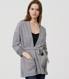 Primary Image of Striped Belted Cardigan
