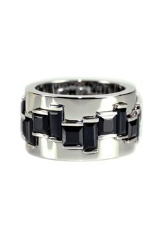 Accessories for the Classic Groom -  Canturi black sapphire and 18ct white gold 'Cubism' ring.