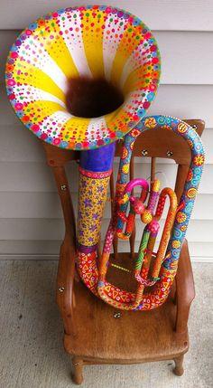 Hand-painted baritone tuba on