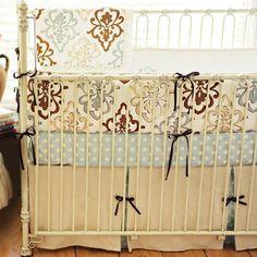 Bella Amore Ivory Blue and Khaki Shabby Chic Damask 3 Piece Crib Set