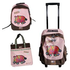 Hippo Pink & Brown Travel Bag Collection Fabric Animals, Recycled Fabric, Pink Brown, Travel Bag, Backpacks, Classic, Bags, Collection, Derby