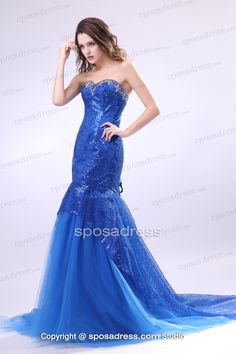 Romantic Blue Sweetheart Mermaid Tiered Prom Dress With Sequined Motifs - Sposadress.com
