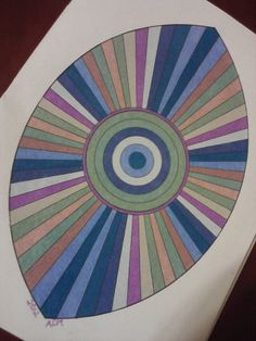"""""""Universe Blinks"""" - Geometric Coloring Book, Dover Pub. Colored with Prismacolor Premier Soft Core pencils, set of 12 muted tones (from 1993). Colorist (that's me): ADH/2012"""