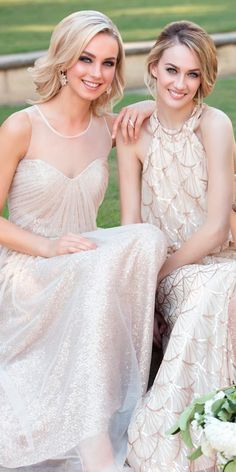 Full On Glitz Sequined And Metallic Bridesmaid Dresses ❤ See more: http://www.weddingforward.com/sequined-metallic-bridesmaid-dresses/ #weddingforward #bride #bridal #wedding