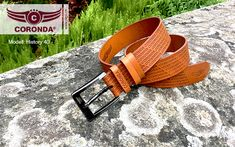 real leather belt History width in international sizes available. The logo was hot stamped in the full grain leather, which makes it unique and strong. The belt history with polished pin buckle and natural brown leather strap with hot stamped font logo. Real Leather Belt, Brown Leather, Font Logo, Natural Brown, Rind, Strong, Stamp, History, Unique