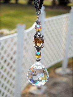 Car SunCatcher Crystal Prism Car Charm Feng Shui by JasGlassArt Mobiles, Crystal Beads, Swarovski Crystals, Glass Beads, Hanging Crystals, Hanging Beads, Feng Shui, Beads And Wire, Suncatchers