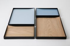 Willbaugh - Paper Tray; The base of the paper tray flicks up at the corner allowing the paper to be easily removed. Materials: Blackened Steel, Plywood, Cork  Oak Veneer