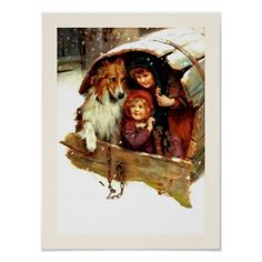 """Vintage Christmas Art small gift print. """"Weather Bound"""" , Oil Painting, circa 1898. Artist: Arthur John Elsley. Matching cards, postage stamp and other products available in the Christmas & New Year / Fine Art Category of the oldandclassic store at zazzle.com"""