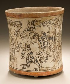 Drinking Vessel Depicting Otherworldly Toad, Jaguar, and Serpent Mexico, Southern Campeche, 650-800 | LACMA Collections
