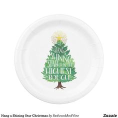 Hang a Shining Star Christmas Paper Plate  sc 1 st  Pinterest & Peace and love personalised paper plates   Custom CHRISTMAS Paper ...