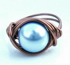 $6 Starting Bid: Light Blue Swarovski Pearl Ring in Antique Copper  #BidOnTophatter