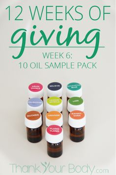 Thank Your Body is doing 12 WEEKS of giveaways! This week enter to win a 10 sample pack of essential oil.