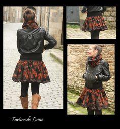 Jupe boule en Velours noir à motifs orange/doré/brun, : Jupe par tartine-de-laine