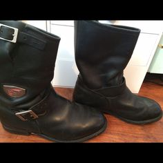 RED WING Steel Toe Black Leather Logger Motorcycle Lace Up Boots ...