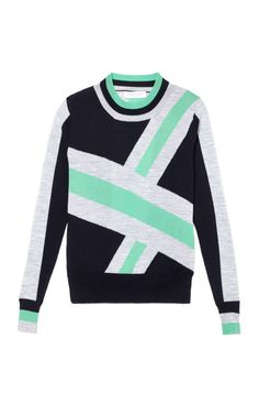 Tanya Taylor Colleen Sweater In Mint/Black