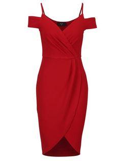 Červené pouzdrové překládané šaty s odhalenými rameny AX Paris