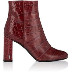 Saint Laurent Women's Loulou Stamped-Leather Ankle Boots (29.015 UYU) ❤ liked on Polyvore featuring shoes, boots, ankle booties, ankle boots, burgundy, burgundy booties, burgundy bootie, chunky heel bootie and high heel boots