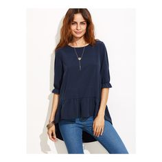 SheIn(sheinside) Navy Ruffle Sleeve High Low Tiered Peasant Top ($15) ❤ liked on Polyvore featuring tops, blouses, navy, ruffle sleeve blouse, ruffle blouse, navy blue blouse, elbow sleeve tops and flutter sleeve blouse