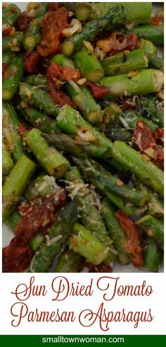 This tasty Sun Dried Tomato Parmesan Asparagus can be made in a matter of ten minutes!!  It has six ingredients and is pretty enough to serve company.
