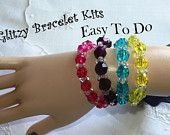 """Set of 4, DIY Craft, """"Easy To Do"""" Glitzy Stretchy Bracelet Kits, One of Each Color, Ages 3 & up, Easy Craft Project, Kid's Jewlery"""