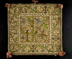 Book Cover  Alternate Title: Burse  Textile  European  ,  16th century  Creation Place: Europe  Silk and metallic yarns filé  29.21 x 27.31 cm (11 1/2 x 10 3/4 in.)  Harvard Art Museums/Fogg Museum, Bequest of Nettie G. Naumburg  , 1930.396.A