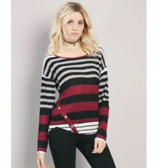 Maroon striped long sleeve top Brand new. Never worn. The color is more maroon then red but still very nice. Papaya Tops Tees - Long Sleeve