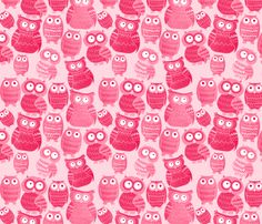 Pink Owls fabric by lusyspoon on Spoonflower - custom fabric