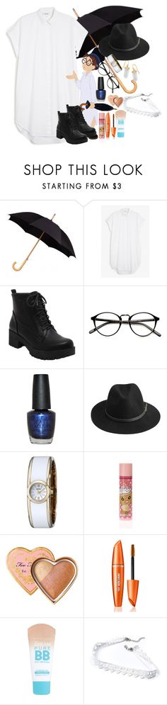 """""""John Darling ⚫️ Disneybound"""" by axelyamary ❤ liked on Polyvore featuring Monki, OPI, BeckSöndergaard, Caravelle by Bulova, claire's, Maybelline and BillyTheTree"""