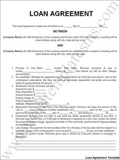 Printable Sample Personal Loan Agreement Form  Private Loan Contract Template