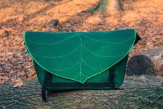 Dark Green Leaf Bike Messenger BagWaterproof by LeaflingBags