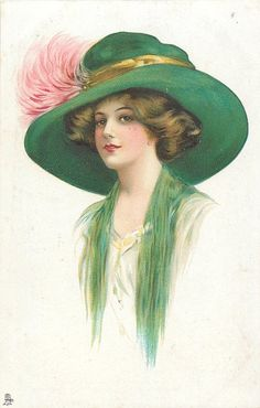 lady facing centre-left with cream dress, green throw & hat, pink feathers in hat band