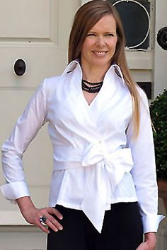Special occasion wear the Georgia Perfect Wrapover White Shirt with Black Palazzo pants