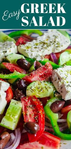 This Greek salad with tomatoes cucumbers and bell peppers is prepared exactly how you will find it on the Greek islands! So easy and packed with flavor! Recipe comes with great tips and a full tutorial. Greek Salad Recipes, Salad Recipes Video, Chicken Salad Recipes, Fish Recipes, Potato Recipes, Easy Mediterranean Diet Recipes, Mediterranean Dishes, Healthy Eating Tips, Healthy Recipes