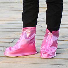 Unisex Waterproof Rain-proof Flat Shoes Covers PVC Reusable Protector Shoes