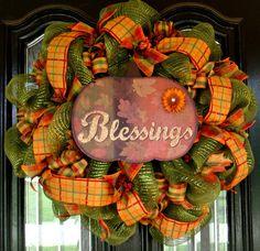 Metallic Green Fall Deco Mesh Door Wreath by JoyfullyYoursWreaths,