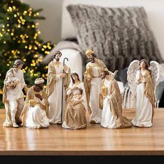 Cream and Gold Christmas Nativity Scene, Set of 7 from Kirkland's Silver Christmas Decorations, Gold Christmas, Christmas Time, Christmas Crafts, Christmas Ideas, Christmas Bells, Nativity Scene Sets, White Nativity Set, Led Garland